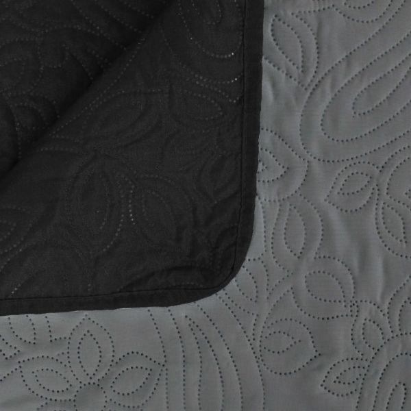 Cuvertură matlasată cu două fețe, 230×260 cm, gri și negru