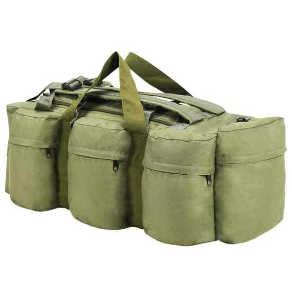 Geantă 3-în-1 în stil army, 120 L, Verde măsliniu