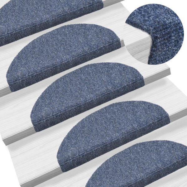 vidaXL Covorașe autocolante de scări, 15 buc, 65 x 21 x 4 cm, albastru