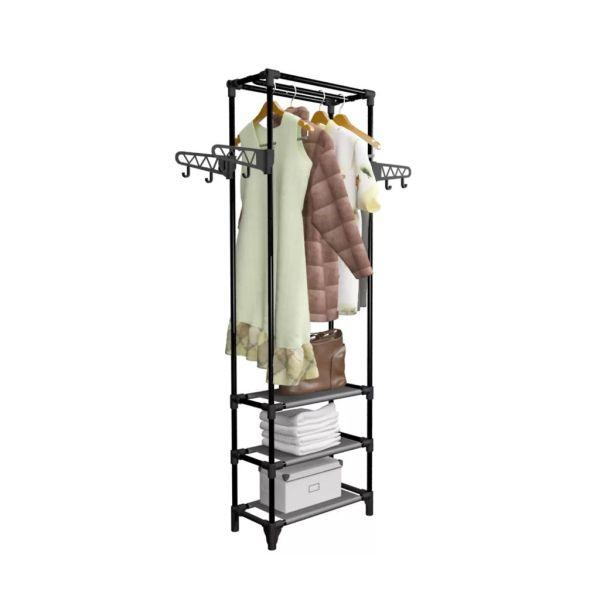 vidaXL Cuier haine, oțel și textil nețesut, 55×28,5×175 cm Negru