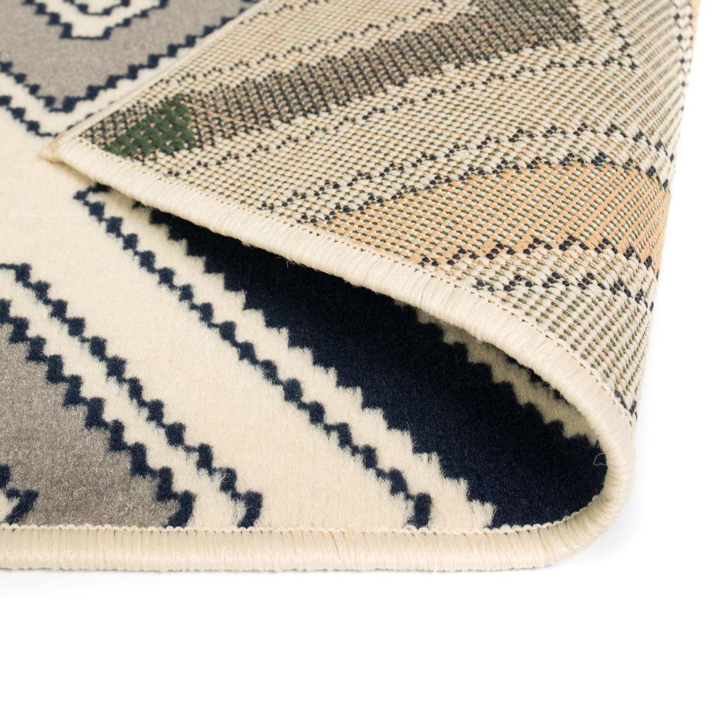 Covor modern, design zigzag, 80 x 150 cm, maro/negru/albastru