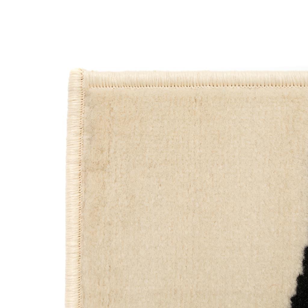 Covor modern, design zebră, 80 x 150 cm, Bej/negru
