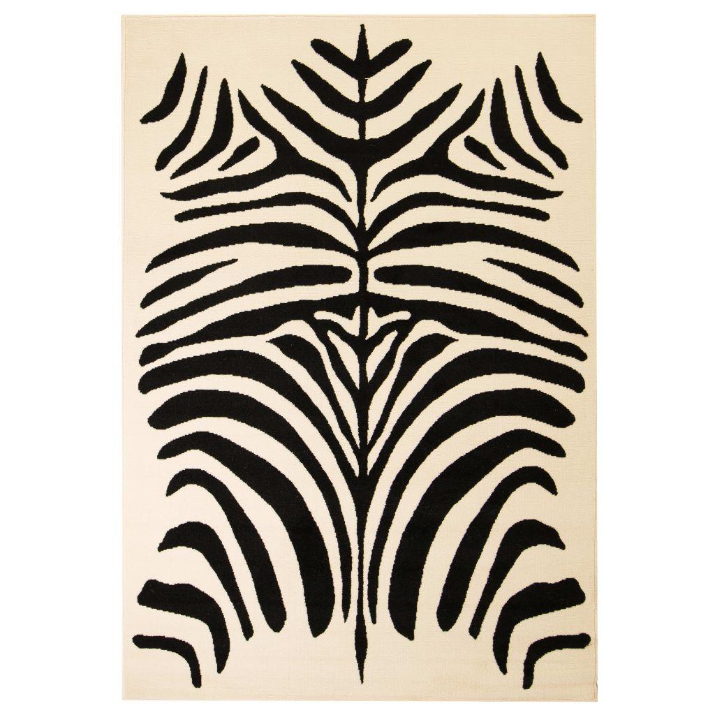vidaXL Covor modern cu design zebră, 140 x 200 cm, bej/negru