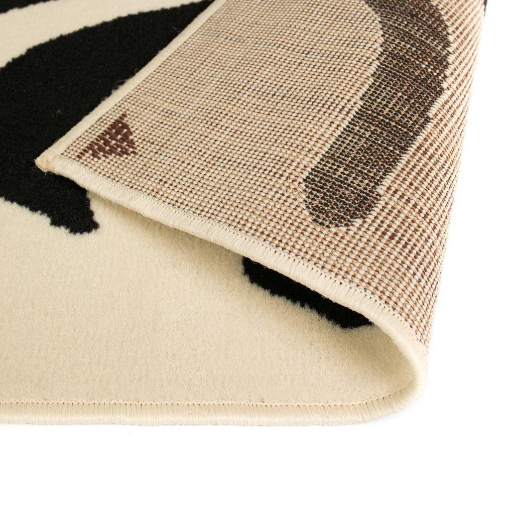 Covor modern cu design zebră, 140 x 200 cm, bej/negru