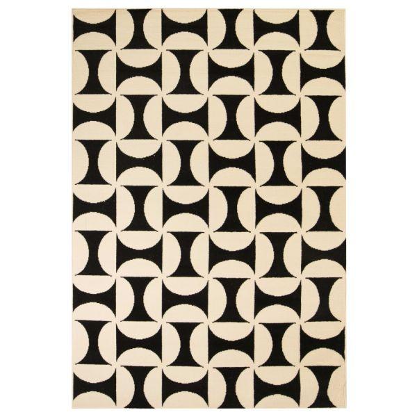 vidaXL Covor modern, design geometric, 80 x 150 cm, bej/negru