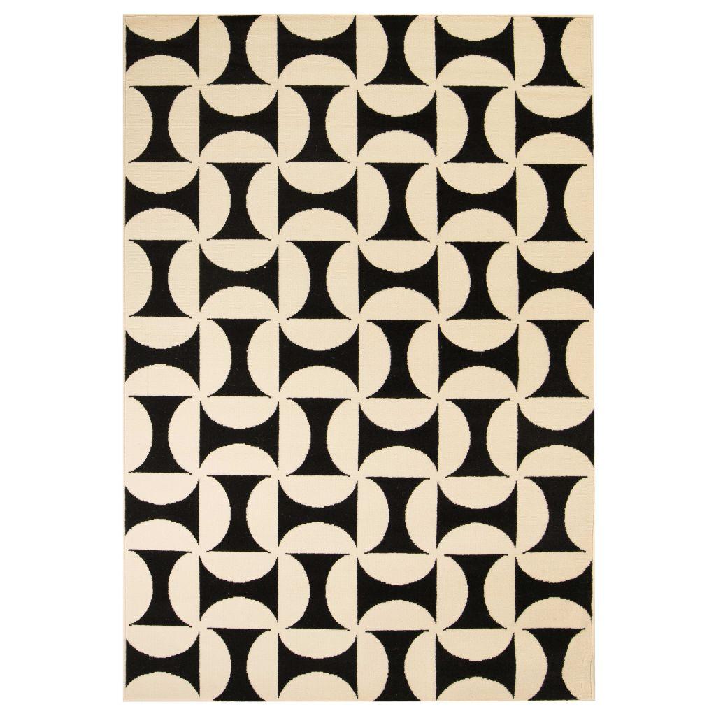 vidaXL Covor modern, design geometric 120 x 170 cm Bej/negru