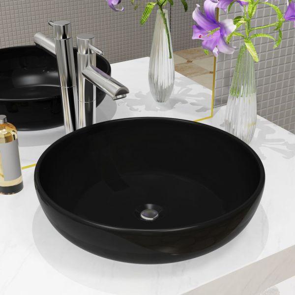 vidaXL Bazin chiuvetă ceramic, negru, 42 x 12 cm, rotund