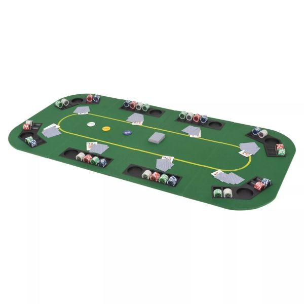 vidaXL Blat masă poker 8 jucători, pliabil în 4, dreptunghiular, verde
