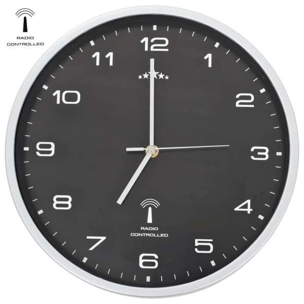 vidaXL Ceas de perete controlat prin semnal radio, negru, 31 cm