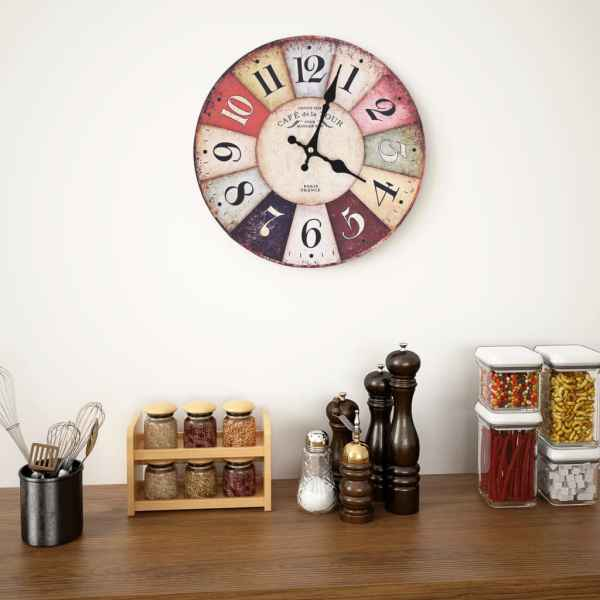 Ceas de perete vintage, 30 cm, colorat