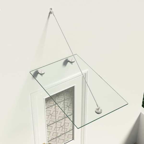 vidaXL VSG Copertină sticlă securizată pt ușa din față, 90×60 cm, oțel