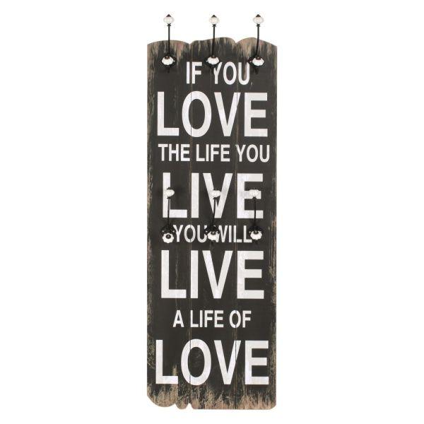 Cuier de perete cu 6 cârlige, 120 x 40 cm, LOVE LIFE