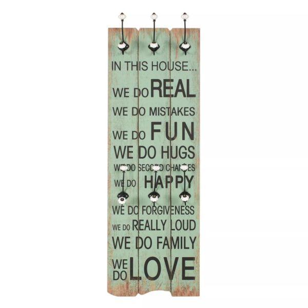 vidaXL Cuier de perete cu 6 cârlige, 120 x 40 cm, HAPPY LOVE