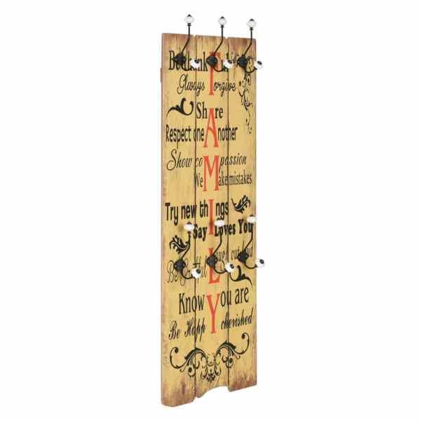 vidaXL Cuier de perete cu 6 cârlige FAMILY, 120 x 40 cm