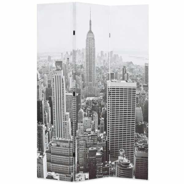 vidaXL Paravan cameră pliabil, 120×170 cm, New York pe zi, alb/negru