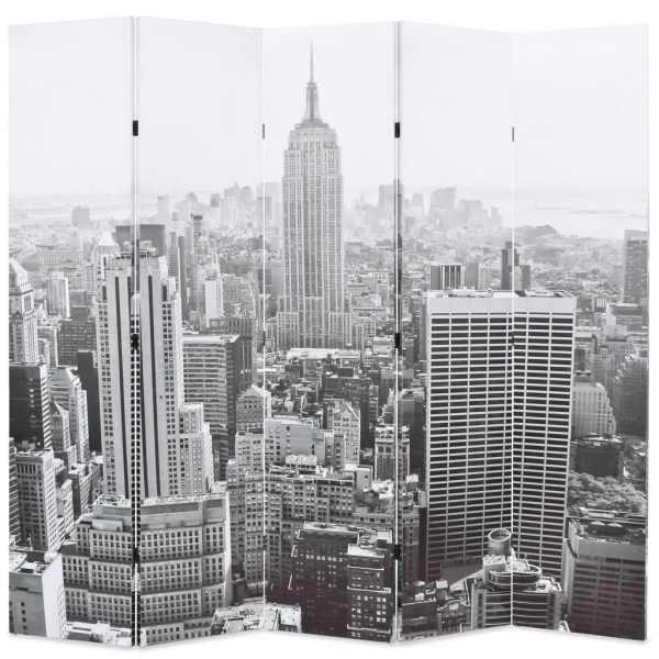 vidaXL Paravan cameră pliabil, 200×170 cm, New York pe zi, alb/negru