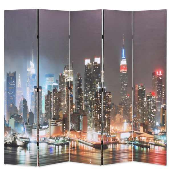 vidaXL Paravan cameră pliabil, 200×170 cm, New York pe timp de noapte