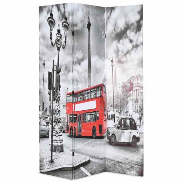 vidaXL Paravan cameră pliabil, 120×170 cm, autobuz londonez, negru/alb