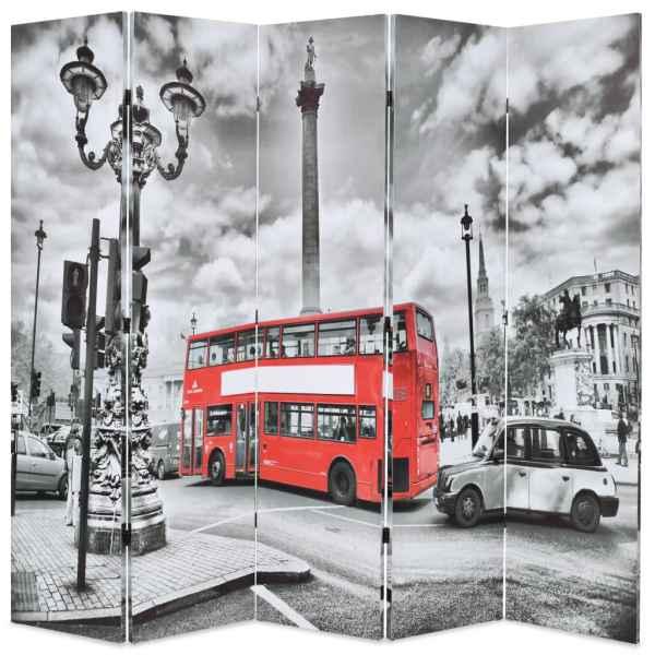 vidaXL Paravan cameră pliabil, 200×170 cm, autobuz londonez, negru/alb