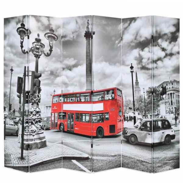 vidaXL Paravan cameră pliabil, 228×170 cm, imprimeu autobuz, negru/alb