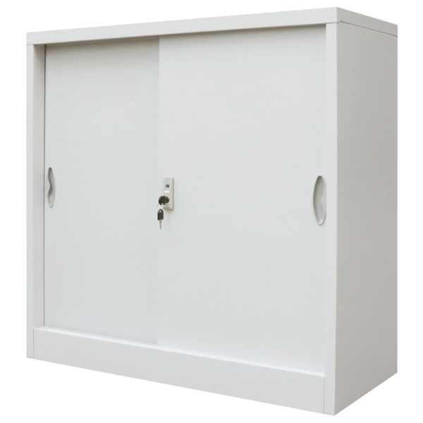 vidaXL Dulap de birou cu uși glisante, metal, 90 x 40 x 90 cm, gri