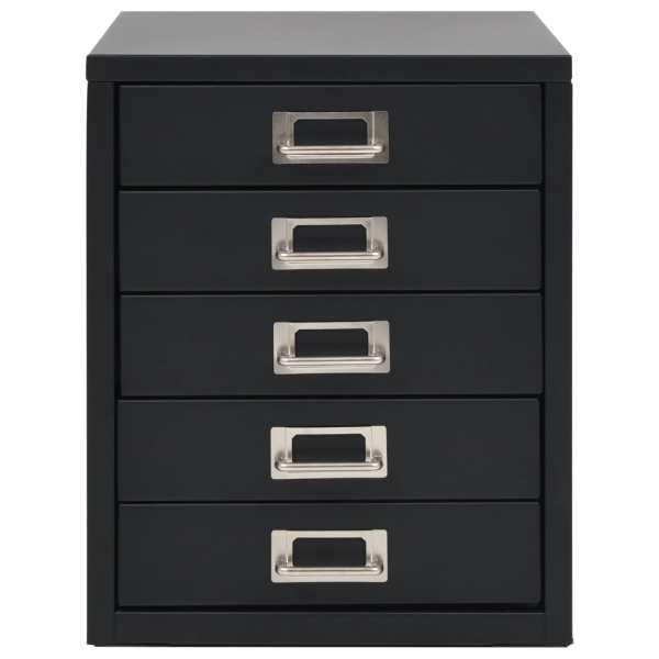 Fișet cu 5 sertare, metal, 28 x 35 x 35 cm, negru