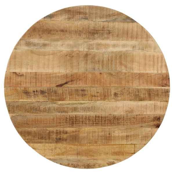 Masă bucătărie, lemn masiv de mango nefinisat, oțel, 120×77 cm