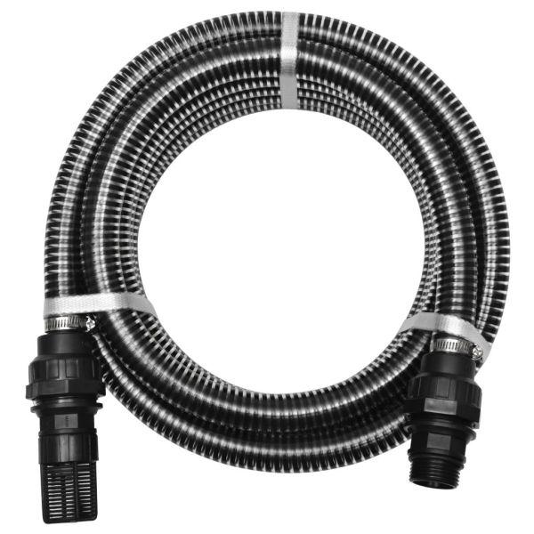 vidaXL Furtun de aspirare cu racorduri, negru, 22 mm, 4 m