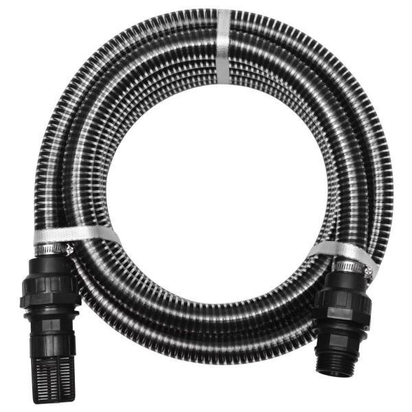 vidaXL Furtun de aspirare cu racorduri, negru, 22 mm, 7 m