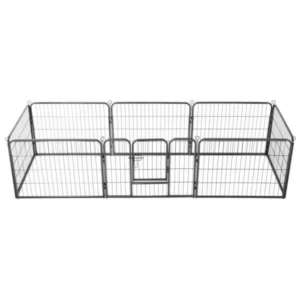 vidaXL Țarc pentru câini, 8 panouri, oțel, 60×80 cm, negru
