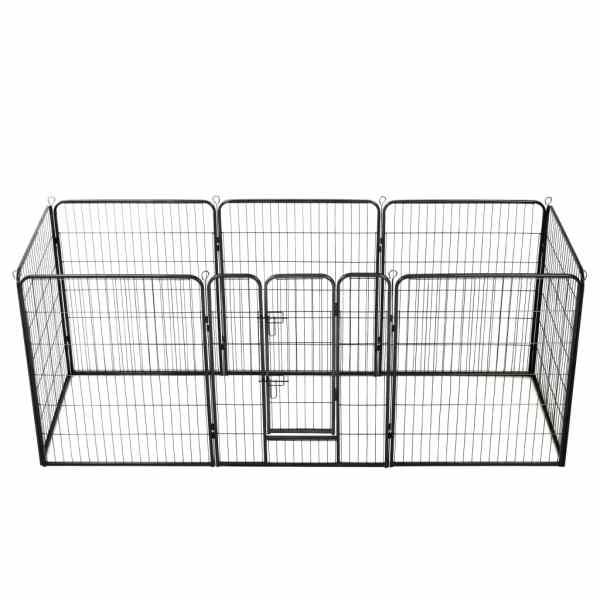 vidaXL Țarc pentru câini, 8 panouri, oțel, 80 x 100 cm, negru