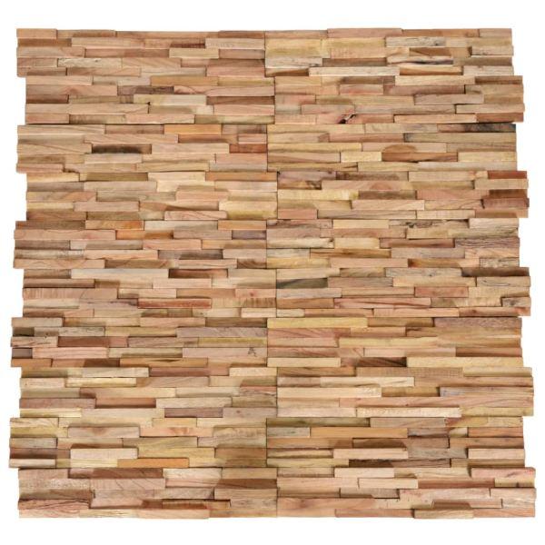 vidaXL Panouri de perete 3D, 10 buc., lemn masiv de tec, 1 m²