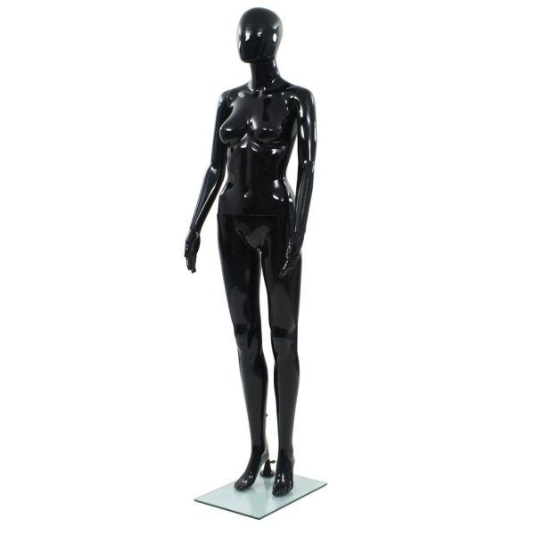 vidaXL Corp manechin feminin, suport din sticlă, Negru lucios 175 cm
