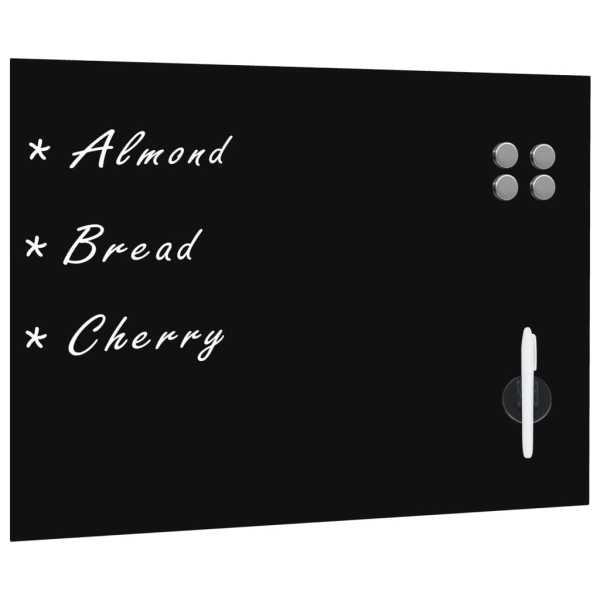 vidaXL Tablă magnetică de perete neagră, sticlă, 80 x 60 cm
