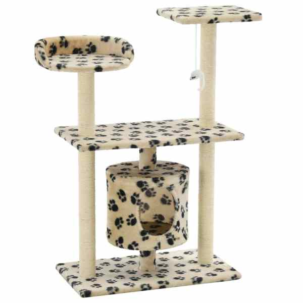 Ansamblu pisici, stâlpi funie sisal, 95 cm imprimeu lăbuțe Bej