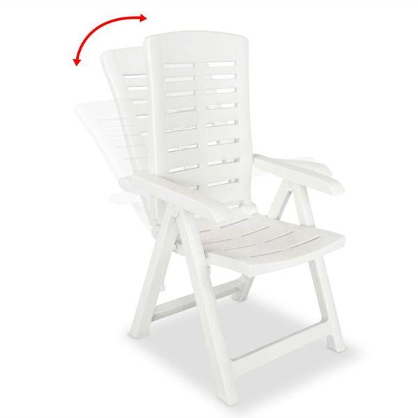 vidaXL Scaune de grădină rabatabile, 6 buc., alb, plastic