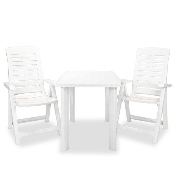 vidaXL Set mobilier bistro, 3 piese, alb, plastic