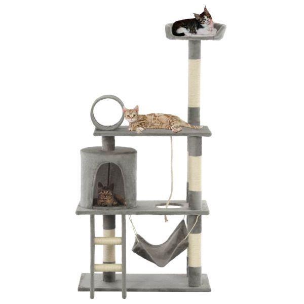 vidaXL Ansamblu de joacă pisici, cu stâlpi funie sisal, 140 cm, gri