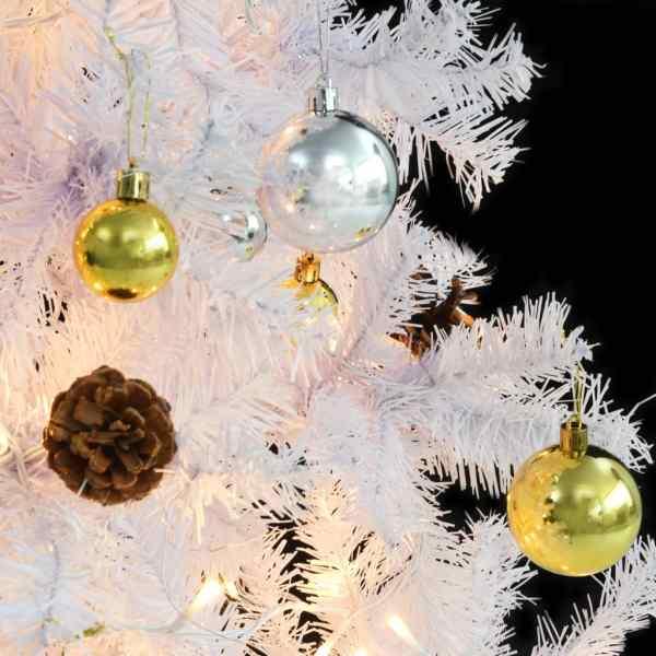 Pom de Crăciun artificial decorat cu globuri și LED 180cm alb