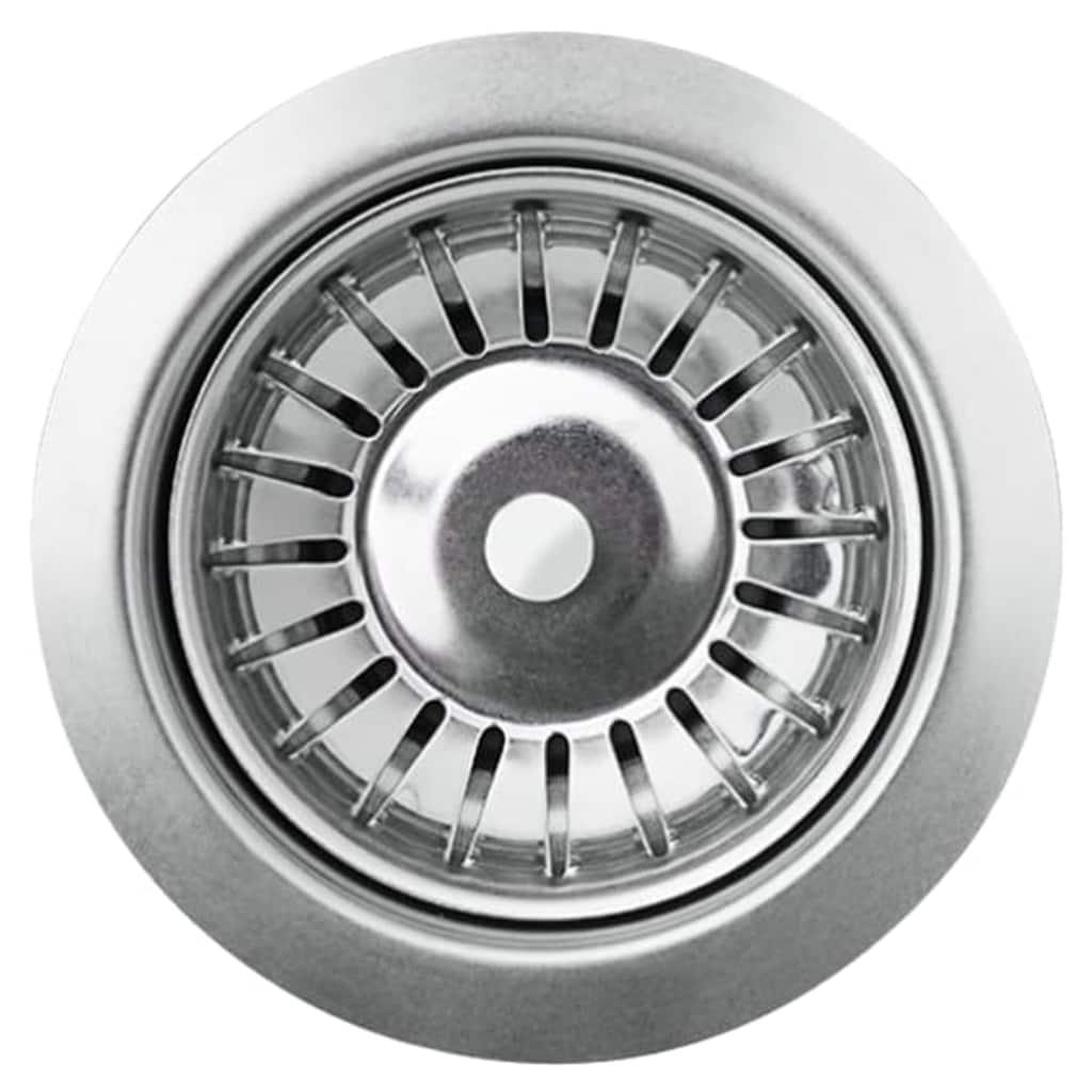 Chiuvetă de bucătărie din granit cu o cuvă, gri, oval
