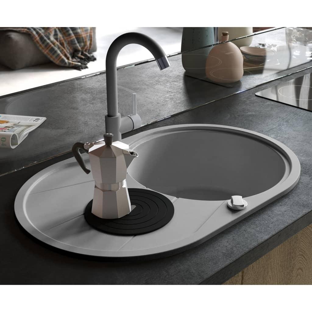 vidaXL Chiuvetă de bucătărie din granit cu o cuvă, gri, oval