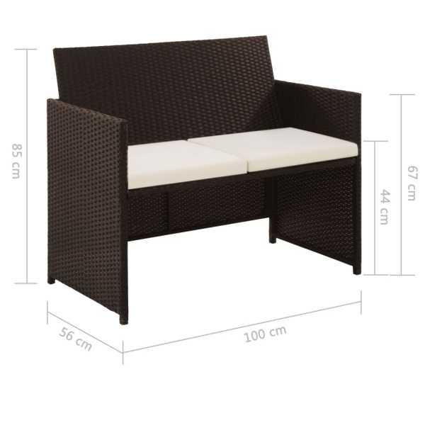 vidaXL Canapea de grădină cu 2 locuri, cu perne, maro, poliratan
