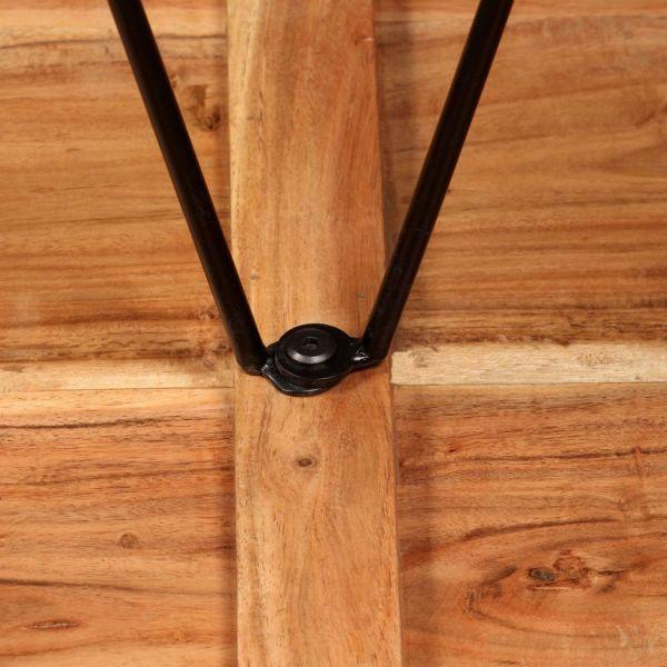 Set de bar, 3 buc., lemn masiv acacia, piele naturală și pânză