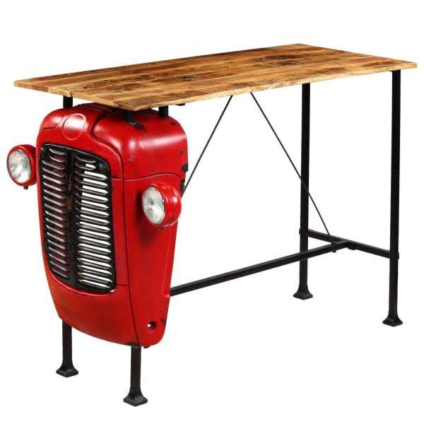 Masă bar, stil tractor, lemn masiv mango, roșu, 60x150x107 cm
