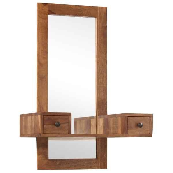 Oglindă cosmetică cu 2 sertare, lemn masiv de sheesham