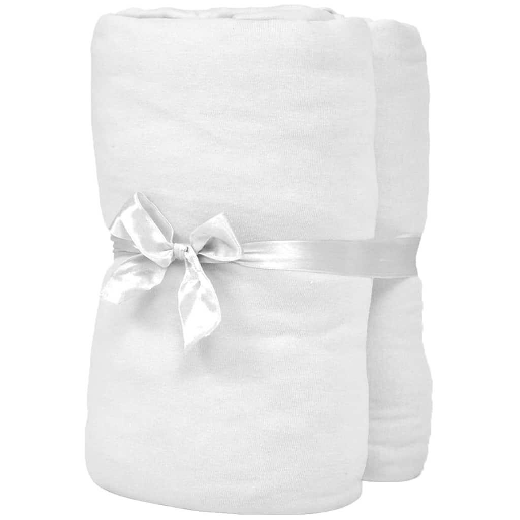 Cearșafuri cu elastic pătuț 4 buc. alb, 40×80 cm jerseu bumbac