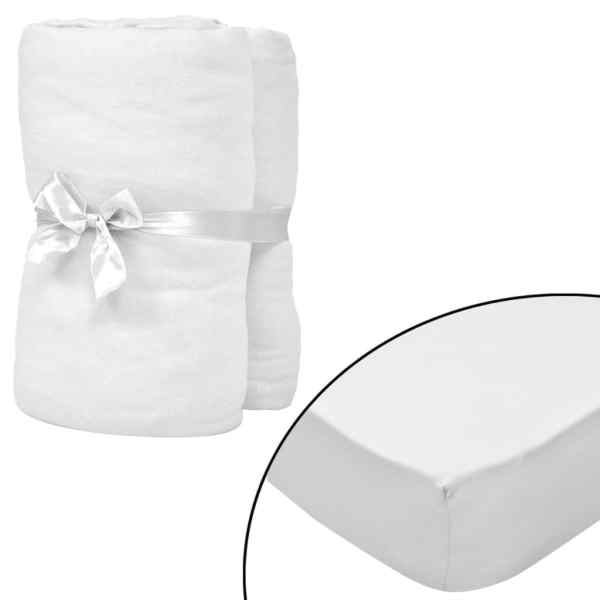 vidaXL Cearșafuri cu elastic pătuț 4 buc alb, 60×120 cm jerseu bumbac