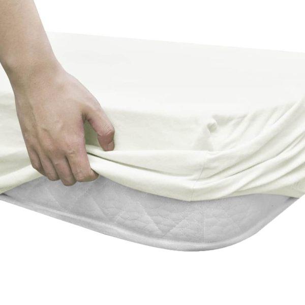 Cearșafuri cu elastic pătuț 4 buc ivoar jerseu bumbac 70×140 cm