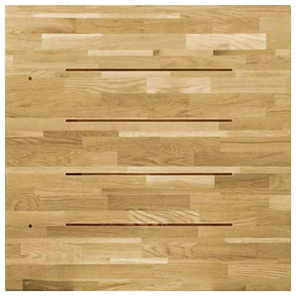 Blat de masă, lemn masiv de stejar, pătrat, 23 mm, 70×70 cm