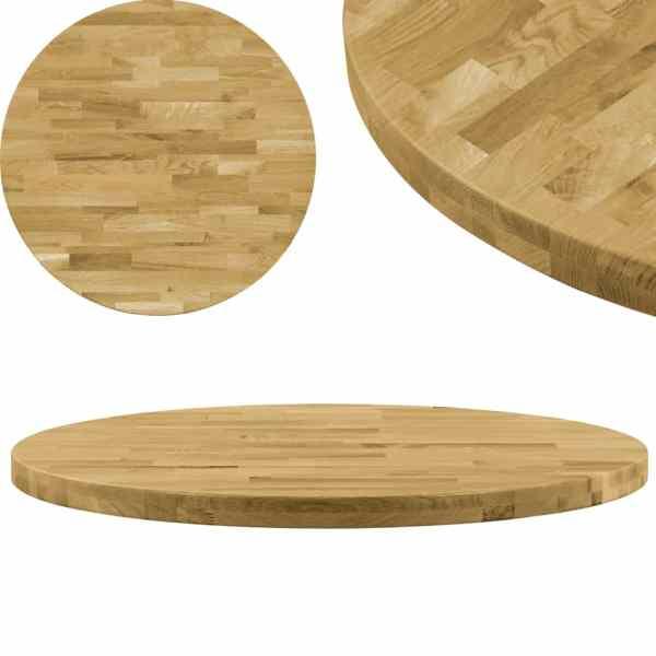 vidaXL Blat de masă, lemn masiv de stejar, rotund, 44 mm, 600 mm